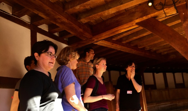 Carter's Professor Patrick showing us the inside of Shakespeare's Globe Theatre