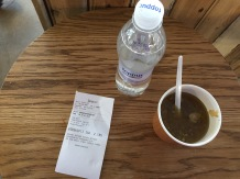 "A $19 ""lunch"" in Iceland: a cup of lamb soup and a bottle of water."