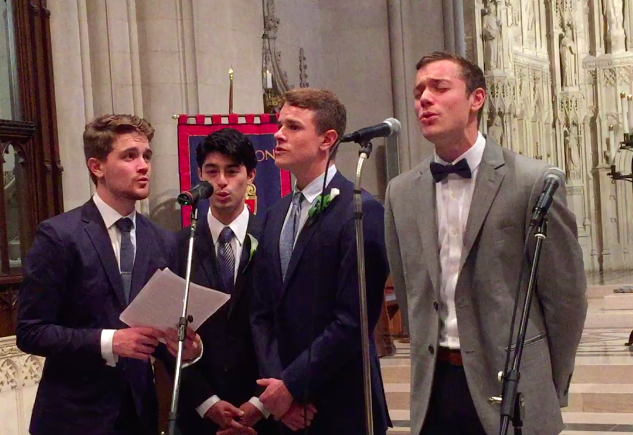 "The Bellaimey Boys and the groom's fellow Brown Derby singer Mike at the National Cathedral in Washington, singing ""Our House"" by Graham Nash."