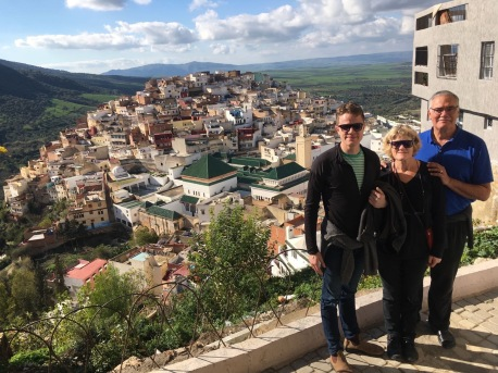 Will, Lynnell, and John at Moulay Idriss, Morocco
