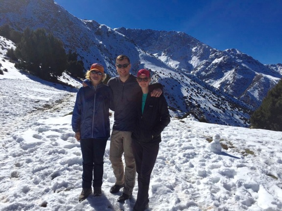 Lynnell, Jackson, and Mackenzie at the snowy pass on day 3 of High Atlas Trek