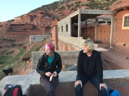 Mackenzie and Lynnell in Berber village, High Atlas Mountains, Morocco