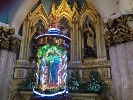 Neon shrine to Mary, Kochi, India