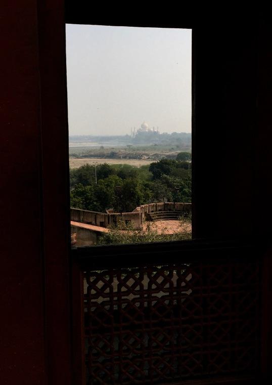 view of Taj, Red Fort Agra