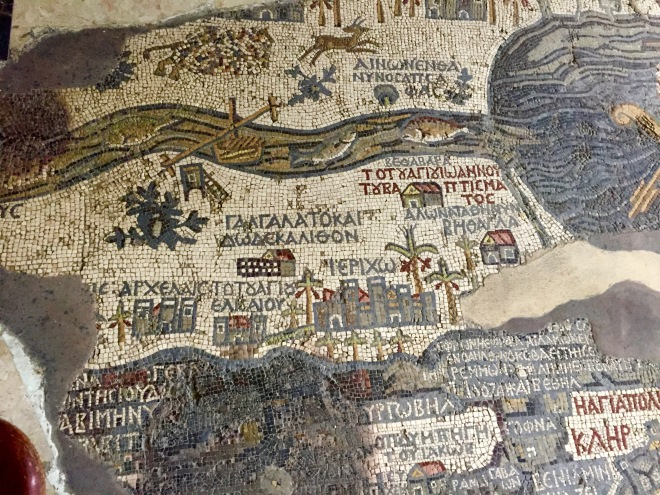 Jordan River, Jericho and Dead Sea on Floor Mosaic Map