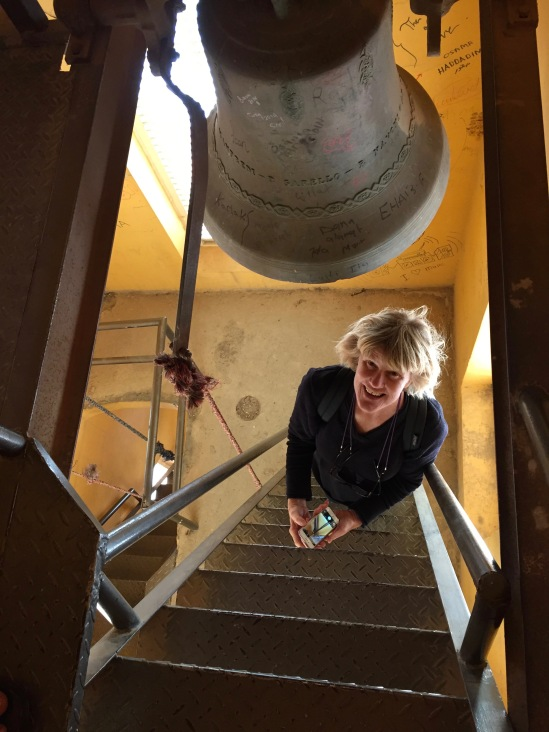 Lynnell in bell tower of St. John The Baptist Beheading Shrine Church
