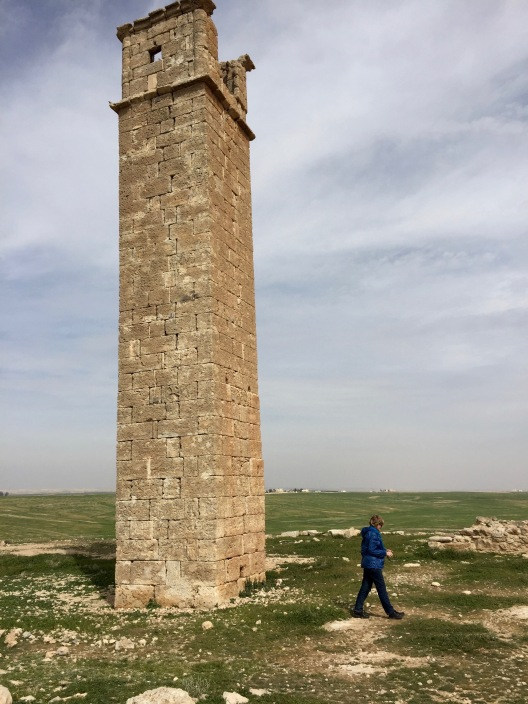 Lynnell walks away from Stylite Tower, Umm ar-Rass