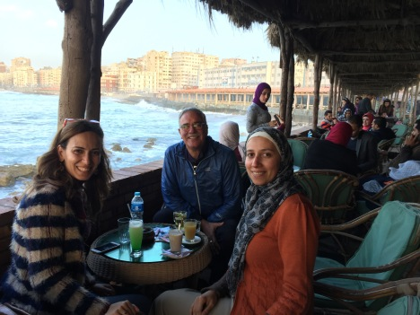 Mai, John, and Hanan seaside in Alexandria