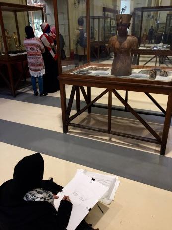 Egyptian Art Student in Egyptian Museum