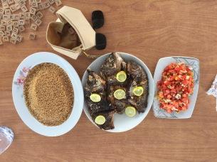 Dinner On Board: Scrabble, Brown Rice, Tilapia, Salad