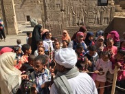 Schoolkids on Field Trip Seeing Ancient Temple