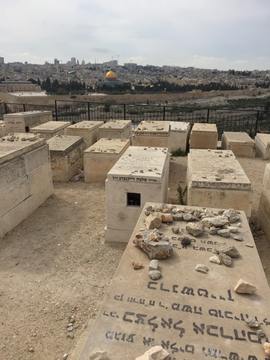Jewish Cemetery on Mount of Olives Facing Dome of the Rock Shrine, Palm Sunday