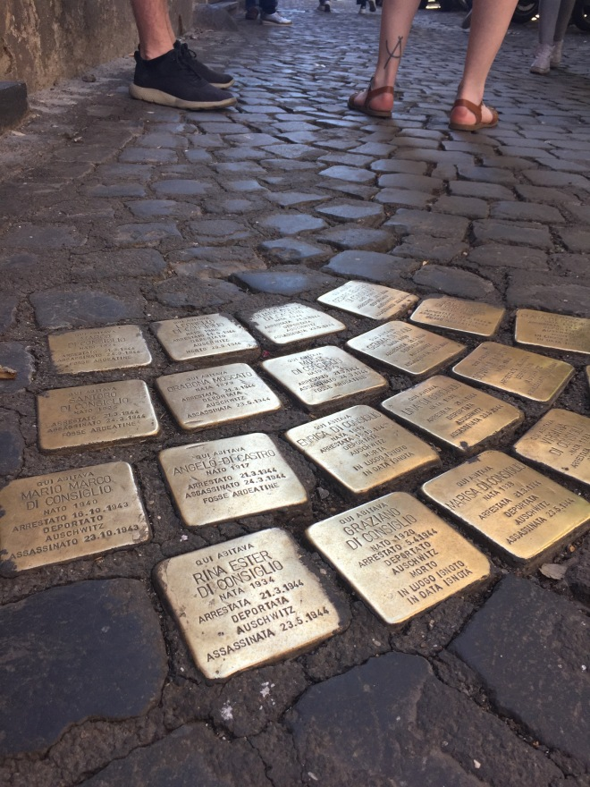Memorial cobblestones of Roman jews