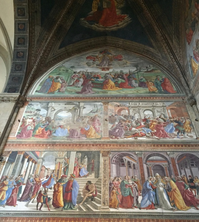 bottom: Mary taken to Temple, Mary engaged, more. Santa Maria Novella Church, Florence