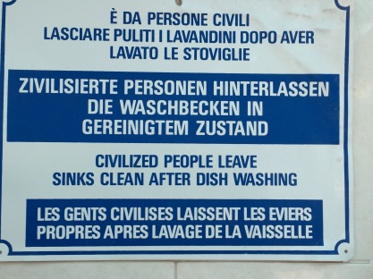 "Civilized ""Gents"" leave sinks clean after dish washing"