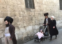 ultra-orthodox hurrying to shabbat, Jerusalem