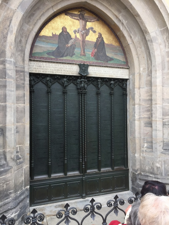 The Door of the Castle Church where the 95 theses were nailed.  Now they are bronzed.